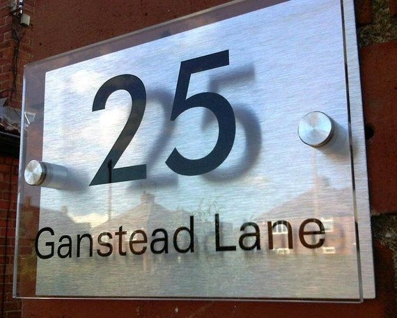 Door number and name plaque bespoke custom made modern for Contemporary house names