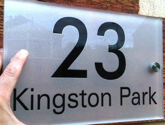 "SUPERSIZED- Door plaque, bespoke custom made, modern acrylic and aluminium stand off fixings - approx 12"" x 8"" (300mm x 200mm)"