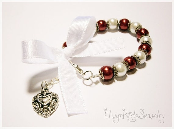 Little Girl Bracelet, Heart Bracelet, Valentine Bracelet, Pearl Bracelet, Ribbon Bracelet, Red Bracelet, Flower Girl Jewelry, Child Bracelet