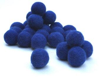 100% Wool Felt Balls,  blue  25 pcs, 1 inch (23mm), pure wool, Color 19