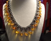 Reserved for Tammy - 16 inch Titanium Byzantine with Amber Dangles