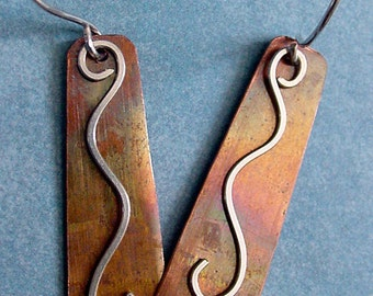 Copper Earrings with graceful sterling silver dangles