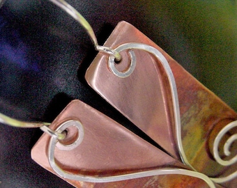 Copper Earrings with Sterling Silver Spirals