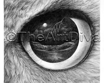 "Great Horned Owl Eye Drawing - 'Mine' - 12"" x 12"""