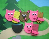 The Three Little Pigs Story Pieces , Felt Board Stories, Flannel Board Stories