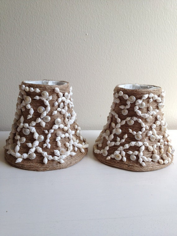 Jute Wrapped Candlestick Lampshades with White Dove Shells and Pearly Umbonium Pair