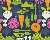 Vegetable Garden from Kitchy Kitchen by Maude Asbury, navy, 100% cotton, 1/2 yard