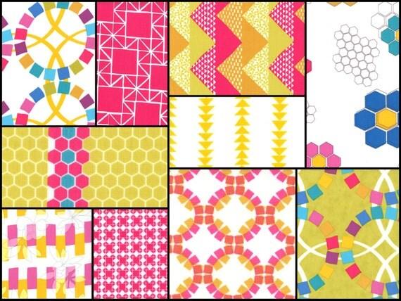 Fat Quarter Bundle of Quilt Blocks by Ellen Luckett Baker, spectrum - 10 pieces