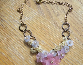 Lucite Flower Necklace with Antique Gold Plated Chain and Clasp