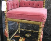 Antique pink velvet and gold corner chair