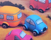 vintage CUDDLY TOY VEHICLES sewing pattern (90s)
