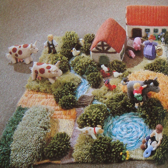 vintage THE KNITTED FARMYARD knitting pattern book by bekabeka75