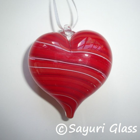 Red Stripe Heart Ornament 1 : DISASTER RELIEF