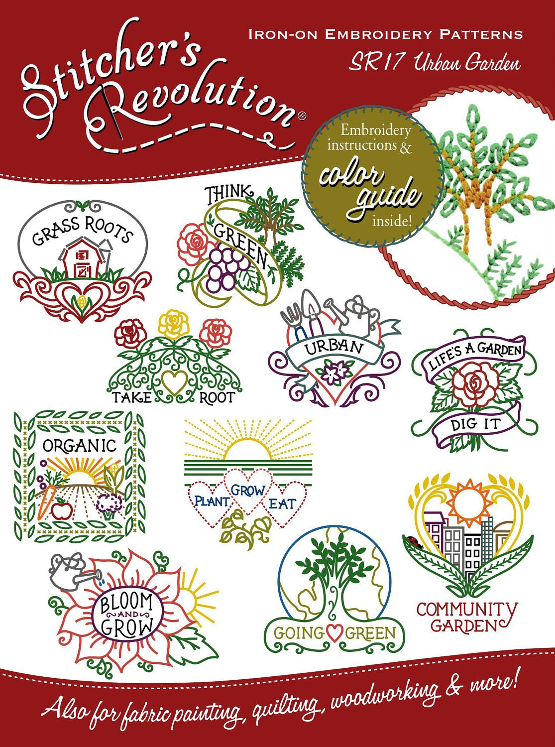 Urban garden embroidery pattern for Garden embroidery designs free