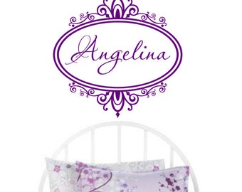 """Wall Decal Custom Name in Beautiful Swirly Frame Girls Baby Toddler Nursery Boutique Wall Art Decor Decal Sticker Large - 22""""W x 21.5""""H FR1"""