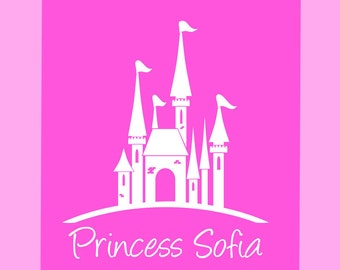 """Princess Castle Wall Decal Custom Name For Your Princess - Girls Baby Toddler Nursery Boutique Wall Decor Decal Sticker Large - 22""""W x 25""""H"""