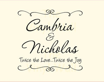 "Twins Custom Name Decal with Quote Twice the Love Twice the Joy - Large size wall decal sticker 23"" w x 22"" t"