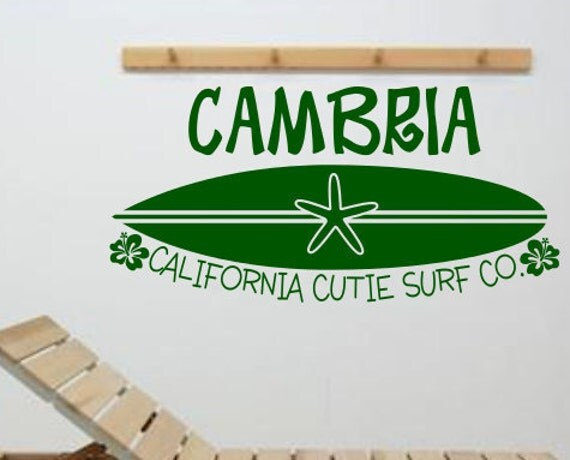 "Surf Board With Custom Name Surfer Surfing Girls Boys Baby Toddler Teen Nursery Boutique Wall Art Decor Decal Sticker LARGE 36"" x 17.25"""