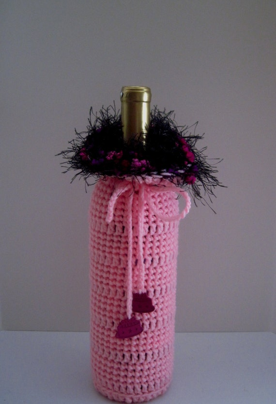 Birthday Crochet Wine Bottle Covers Sacks Gift Bags Pink With