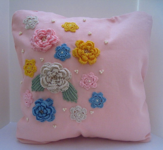 Pink 14 Inch Accent Throw Pillow Cover with Crochet Flower Embellishment Appliques and Ivory Colored Czech Glass Beads