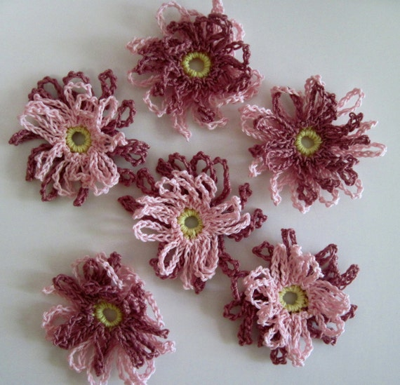 6 Loopy Crochet Flower Embellishment Appliques in Pink and Mauve (Set of 6)