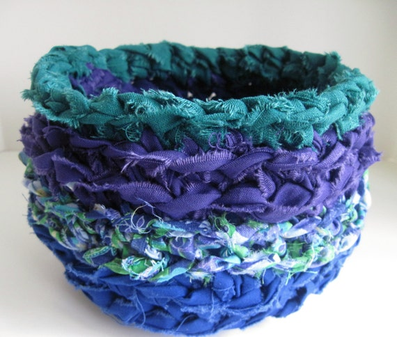 Crochet Basket Bowl - Shabby Chic Fabric in Blue, Purple and Teal