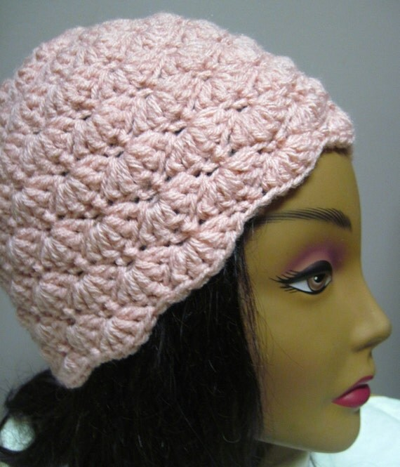 Womans Crochet Hat Pretty Pink Stylish, Chic, Trendy and Lacy Scallop Cap Handmade Fashion Accessory