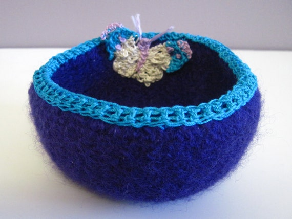 Crochet Felted Dish Bowl - Purple and Aqua with Butterfly Applique