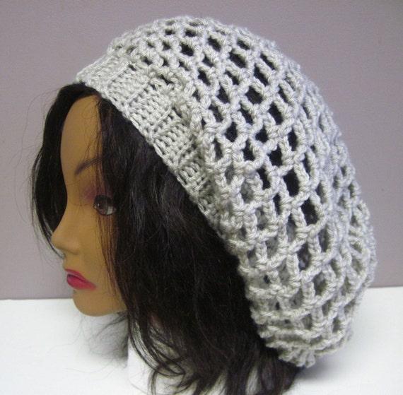 Crochet Slouchy Hat - Lacy Open Weave - Linen Beige
