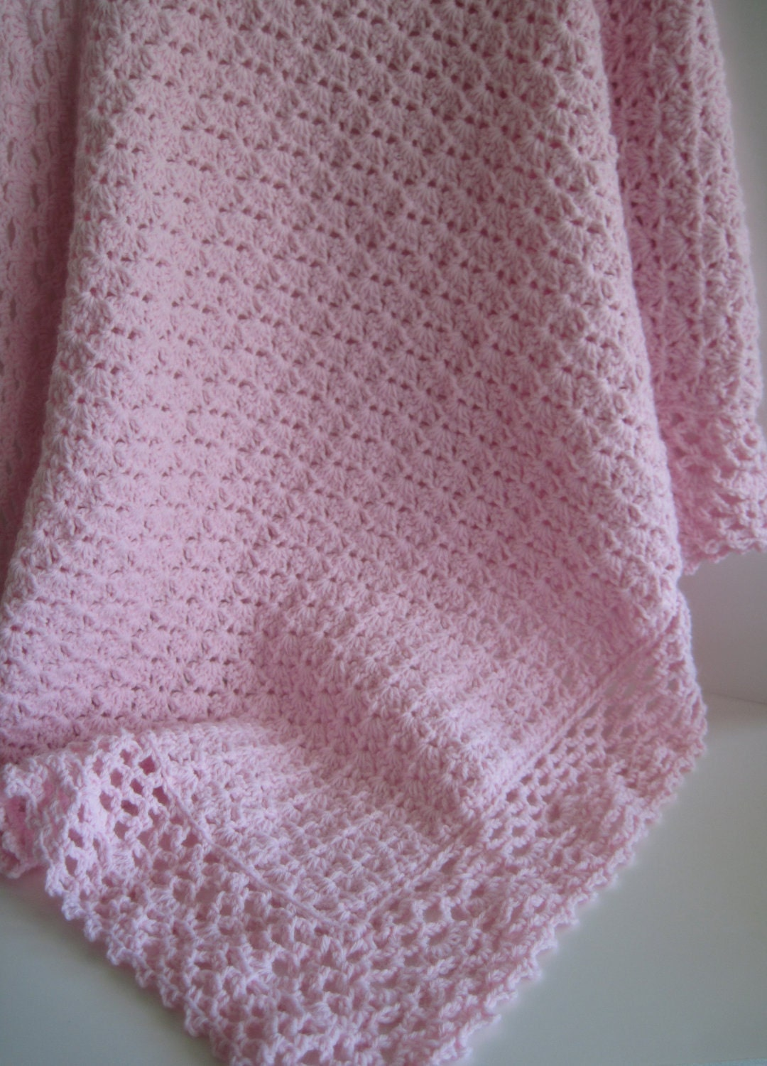 Pink Crochet Baby Blanket Afghan With Lacy Edging