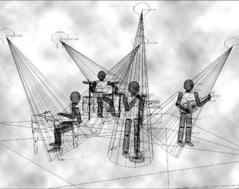 """Mario Strack -""""The Band - Wireframe""""   original graphic Art Print Edition handsigned"""