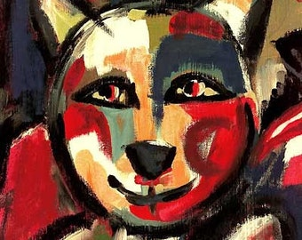 "Jacqueline Ditt - ""The happy Tom-Cat""  print after painting"