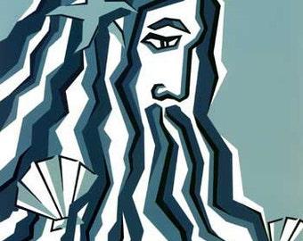 """Jacqueline Ditt - """"Aquarius"""" original graphic ARTcard"""