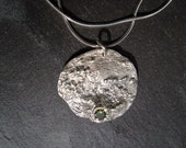 Driftwood Texture Pendant with Green Crystal