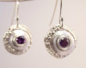 Silver Sputnik Urchin Earrings With Purple Crystals