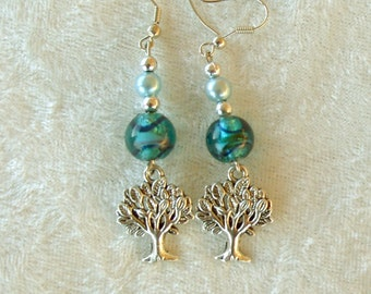 Tree of Life Earrings in Teal and Silver
