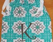 """Monogrammed Drawstring Bag """"teal tile"""""""