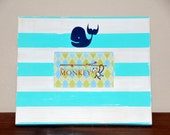 Custom Personalized Handmade Painted Wood Picture Frame 4x6 Whale Critter Decal turquoise & white stripe