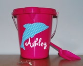 Custom boutique personalized monogrammed polka dotted dolphin sand bucket sand pail boys girls kids