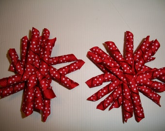 The Hair Bow Factory Red with White Dots Korker Hair Bows Set of 2