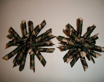 The Hair Bow Factory Camo Korker Hair Bows Set of 2