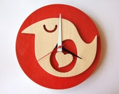 Red wooden bird clock - Wish