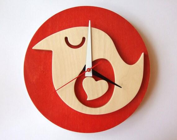 Red Wooden Bird Clock Wish