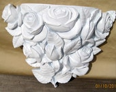 Vintage Homco USA Wall Pocket Roses Upcycled in White