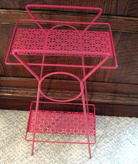 Vintage Metal Telephone Stand  Upcycled in Pink and Perfect