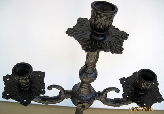 SALE Vintage Candelabra Upcycled in Metallic  Charcoal