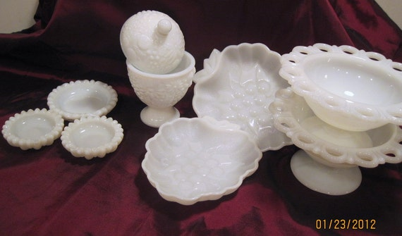 Vintage White Milk Glass Collection 8 pc Spring Home Decor Wedding Party Trinket Tray