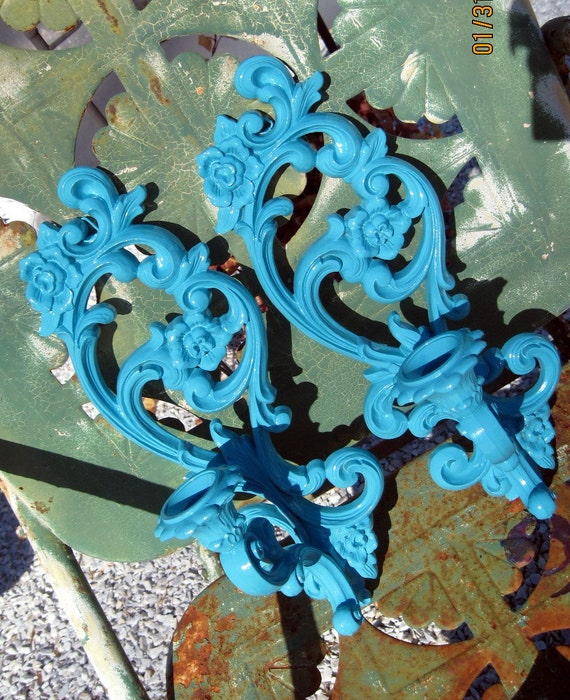 Vintage Homco USA Wall Candle Sconce Set of 2  Blue Turquoise