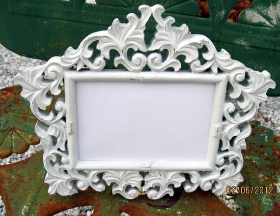 Vintage Style Ornate Picture Frame 4x6 Shabby Satin White