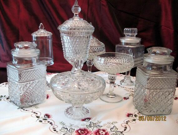 Wedding Candy Dessert Buffet Bar Set of 8 Larger sizes Vintage Pressed Glass Pedestals SALE
